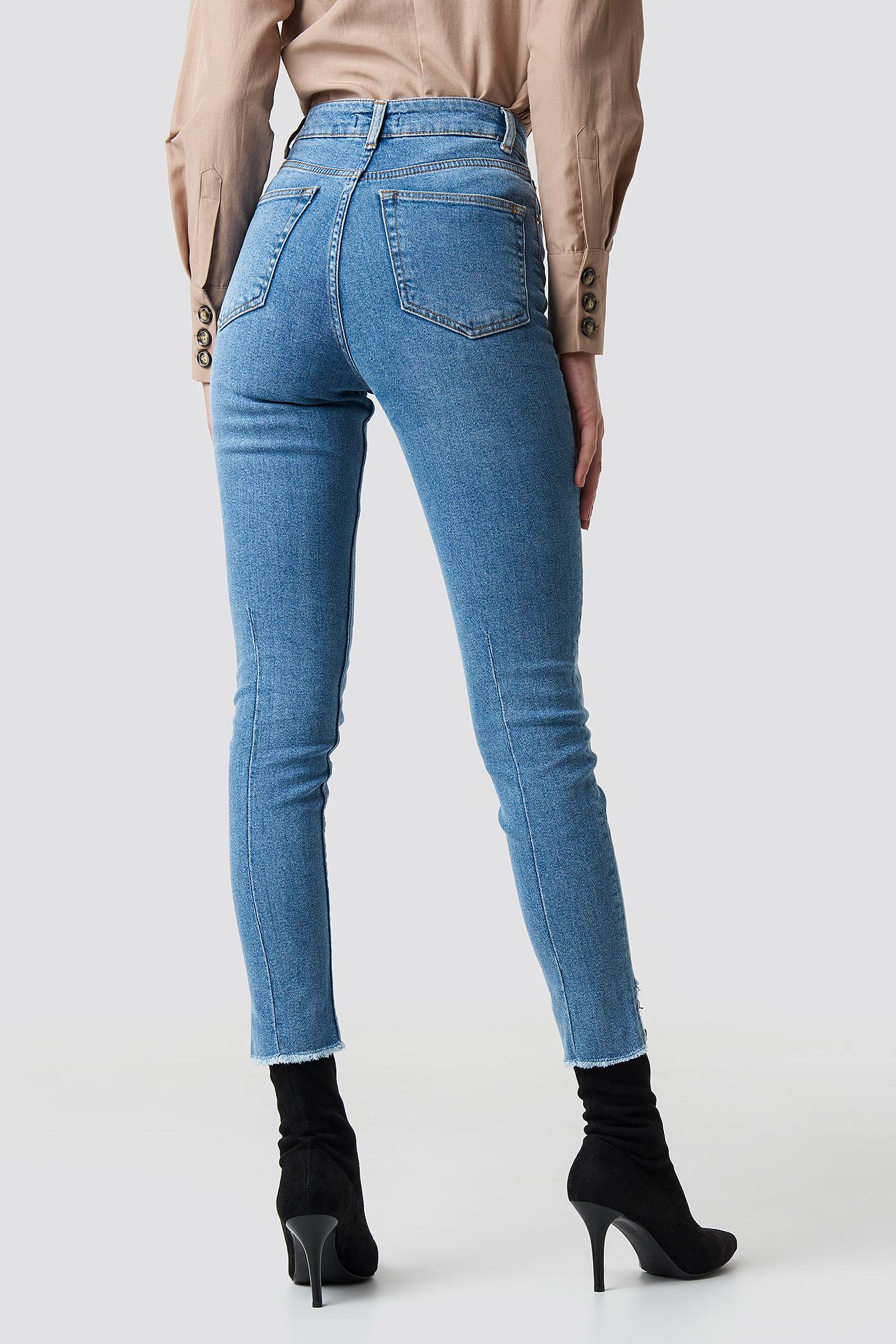High Rise Slim Asymmetric Hem Jeans NA-KD.COM
