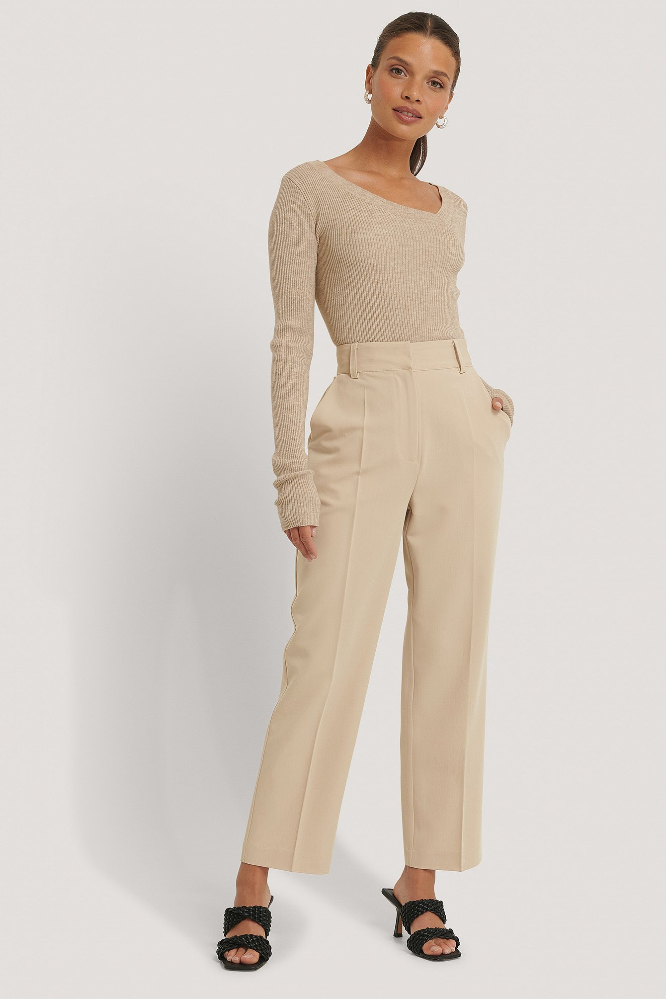 Na-kd Reborn High Rise Cropped Suit Pants - Beige