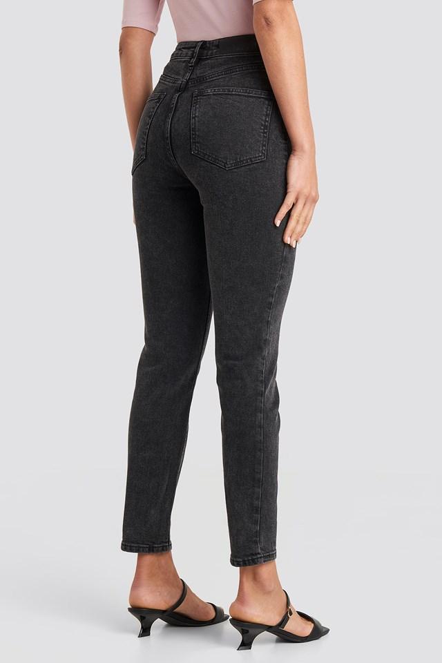 High Waist Skinny Fit Jeans Black Stone Wash