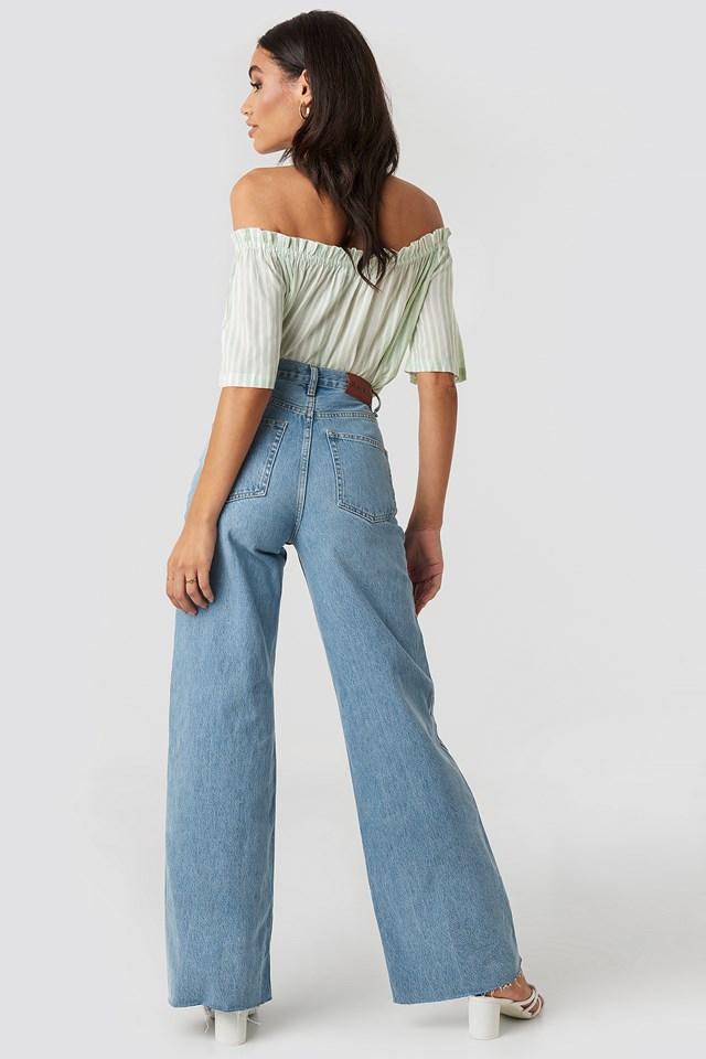 High Rise Wide Leg Jeans Light Blue