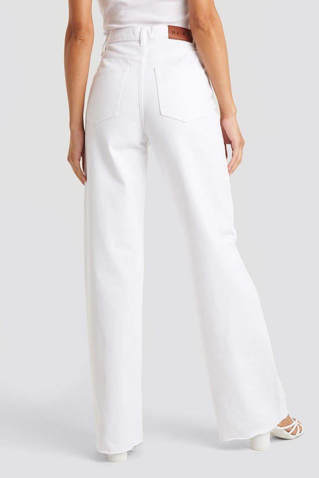 High Rise Wide Leg Jeans Offwhite
