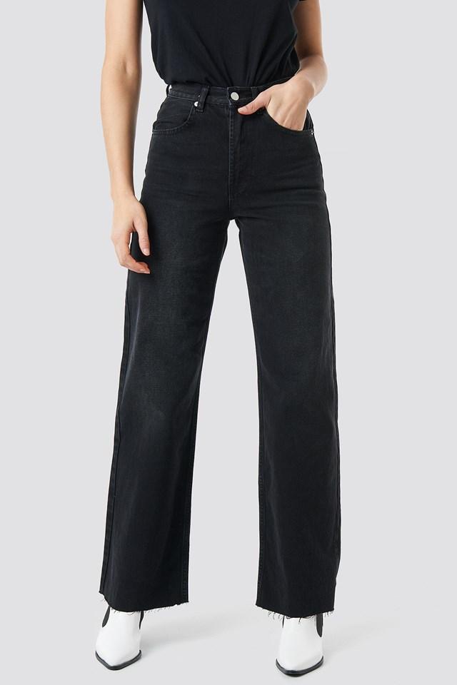 High Rise Wide Leg Jeans Black