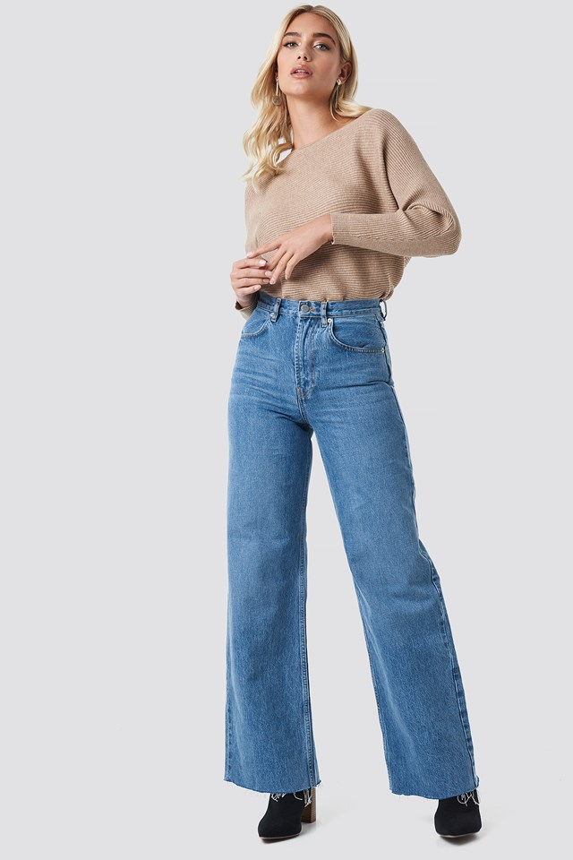 High Rise Wide Leg Jeans NA-KD Trend