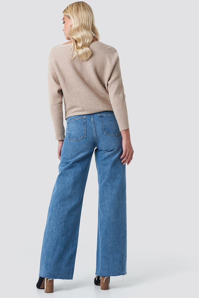 High Rise Wide Leg Jeans Mid Blue