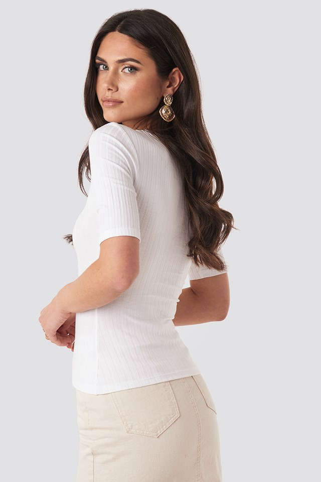 High Round Neck Ribbed Tee White