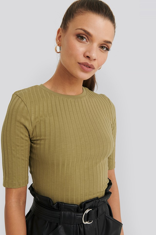 High Round Neck Ribbed Tee NA-KD Basic