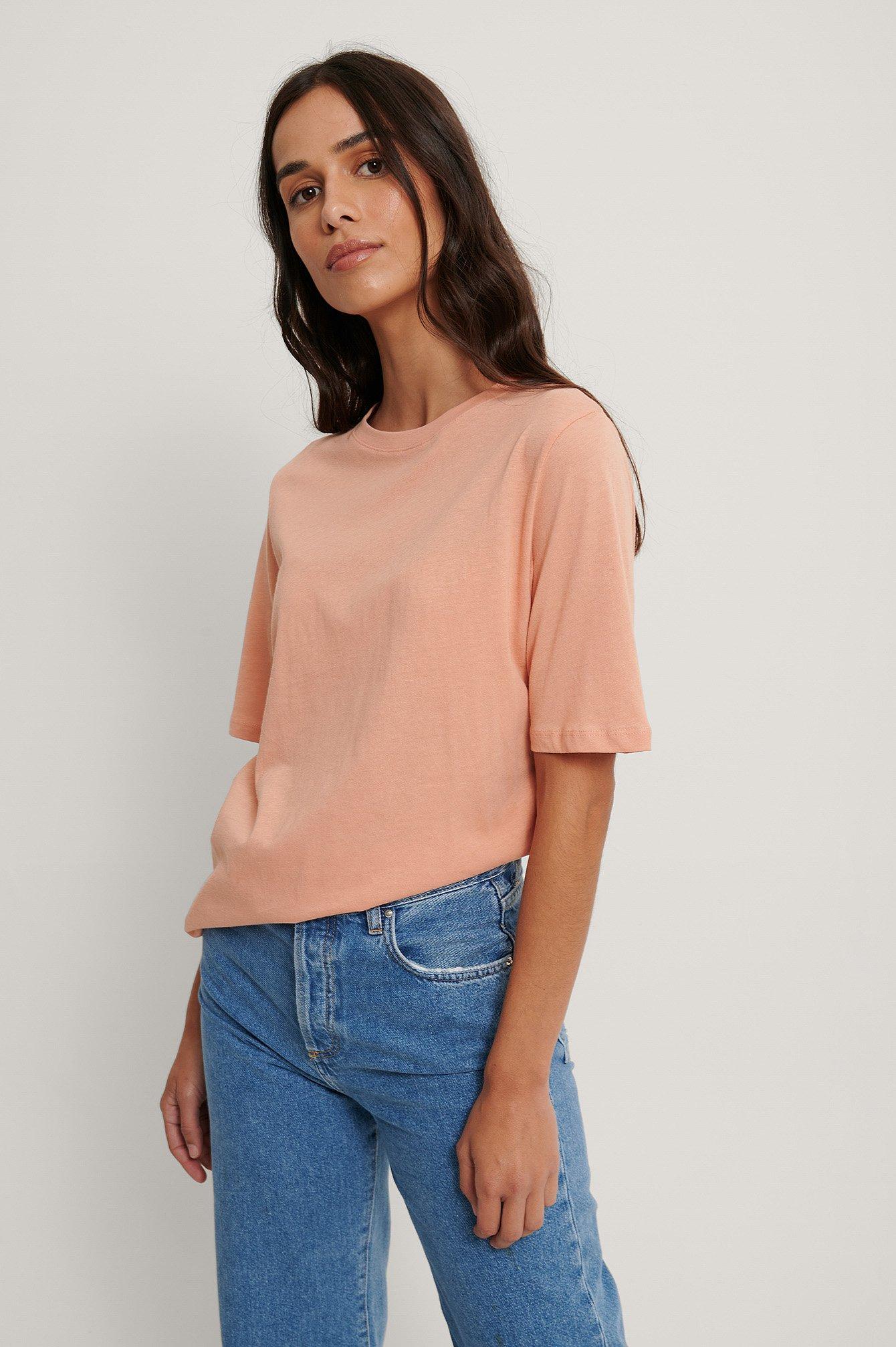 na-kd basic -  T-Shirt Mit Hohem Rundhalsausschnitt - Orange