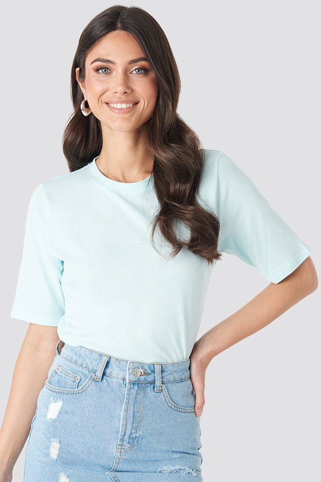 High Round Neck Tee Pastel Blue