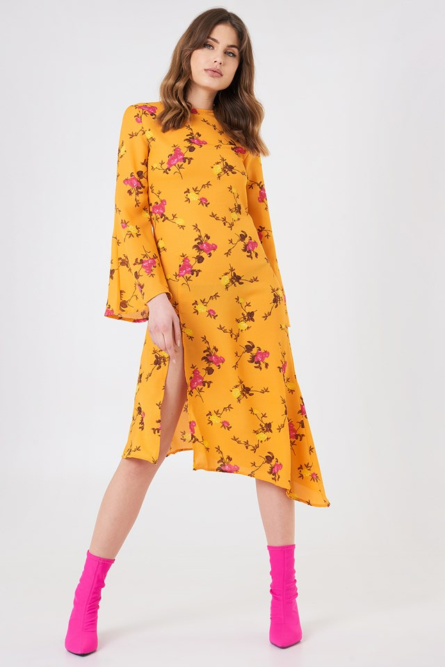 High Slit Asymmetric Midi Dress Orange Floral