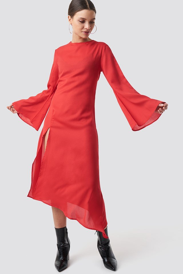 High Slit Asymmetric Midi Dress Red