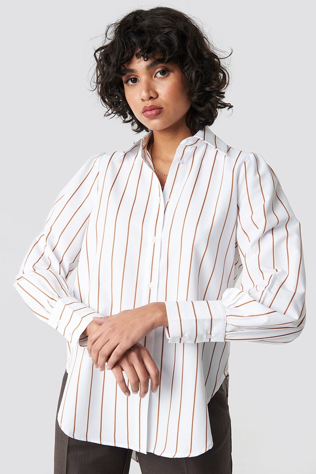 High Slit Oversized Striped Shirt Brown/White