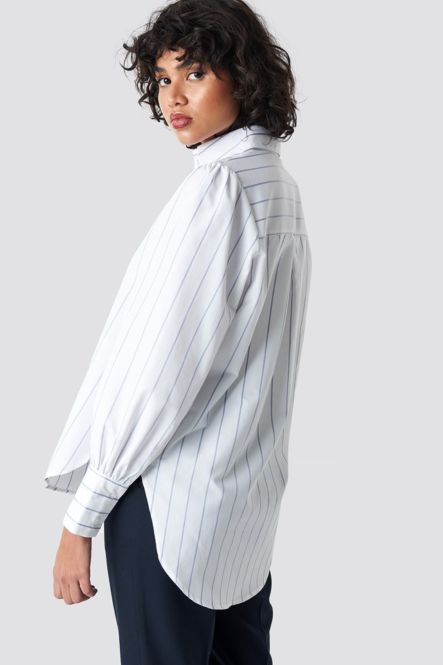 High Slit Oversized Striped Shirt Light Blue/White Stripe