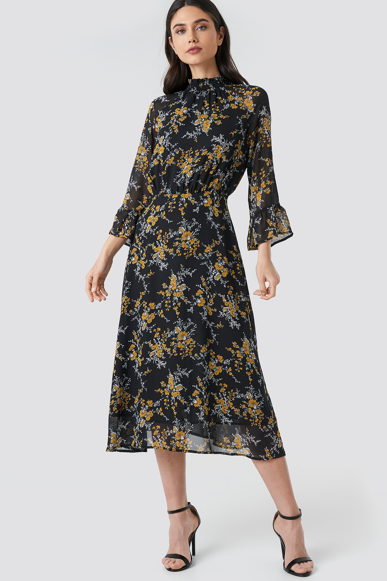 High Smock Neck Chiffon Dress NA-KD.COM