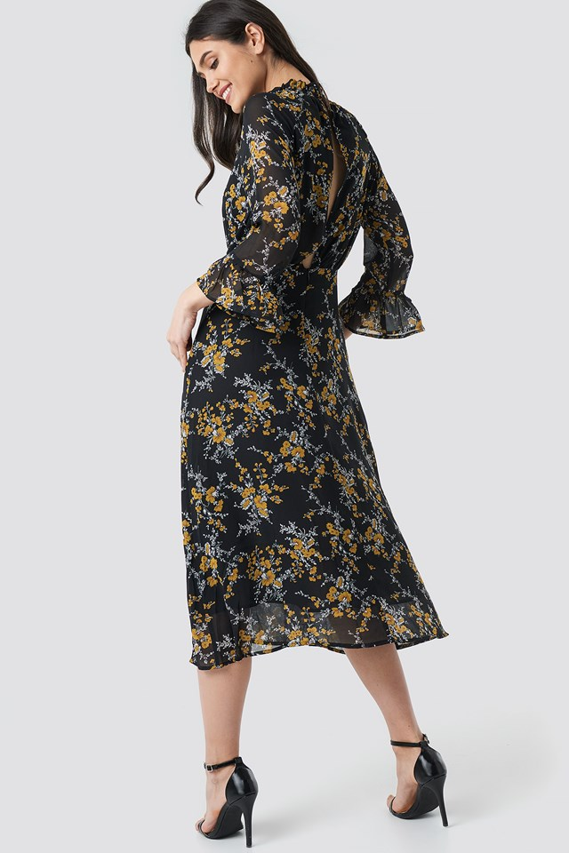 High Smock Neck Chiffon Dress Flower Print