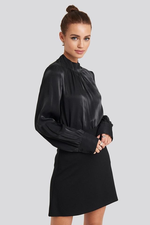 High Waist A-Line Skirt Black