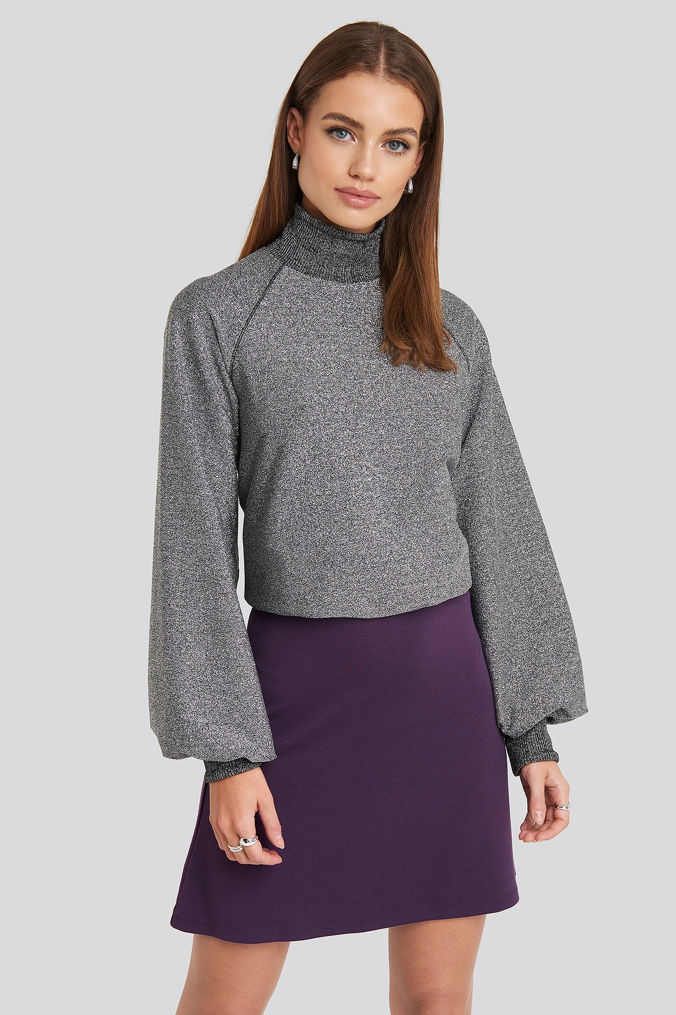 NA-KD Party High Waist A-Line Skirt - Purple