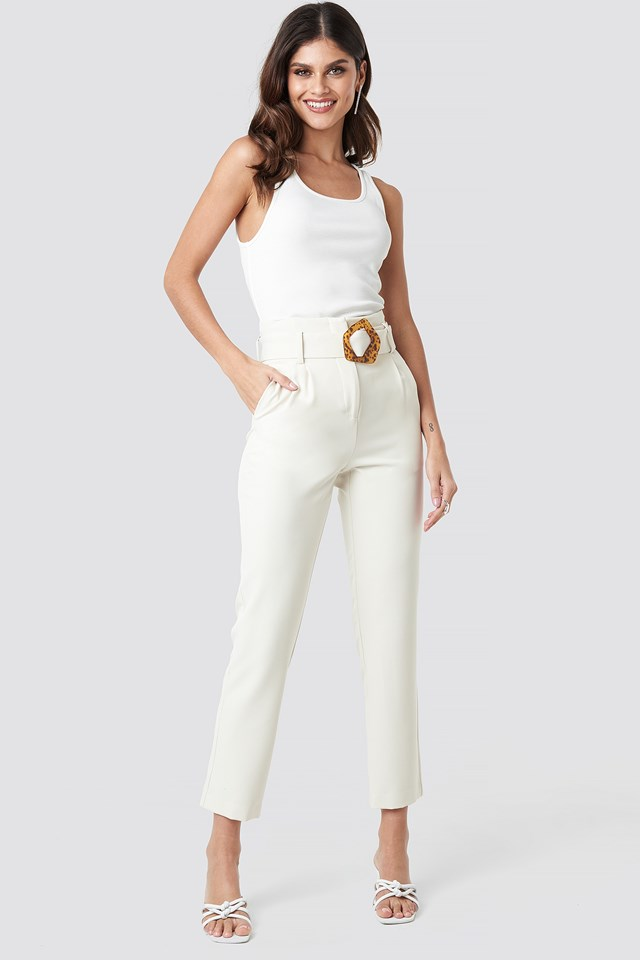 High Waist Asymmetric Belted Pants Cream