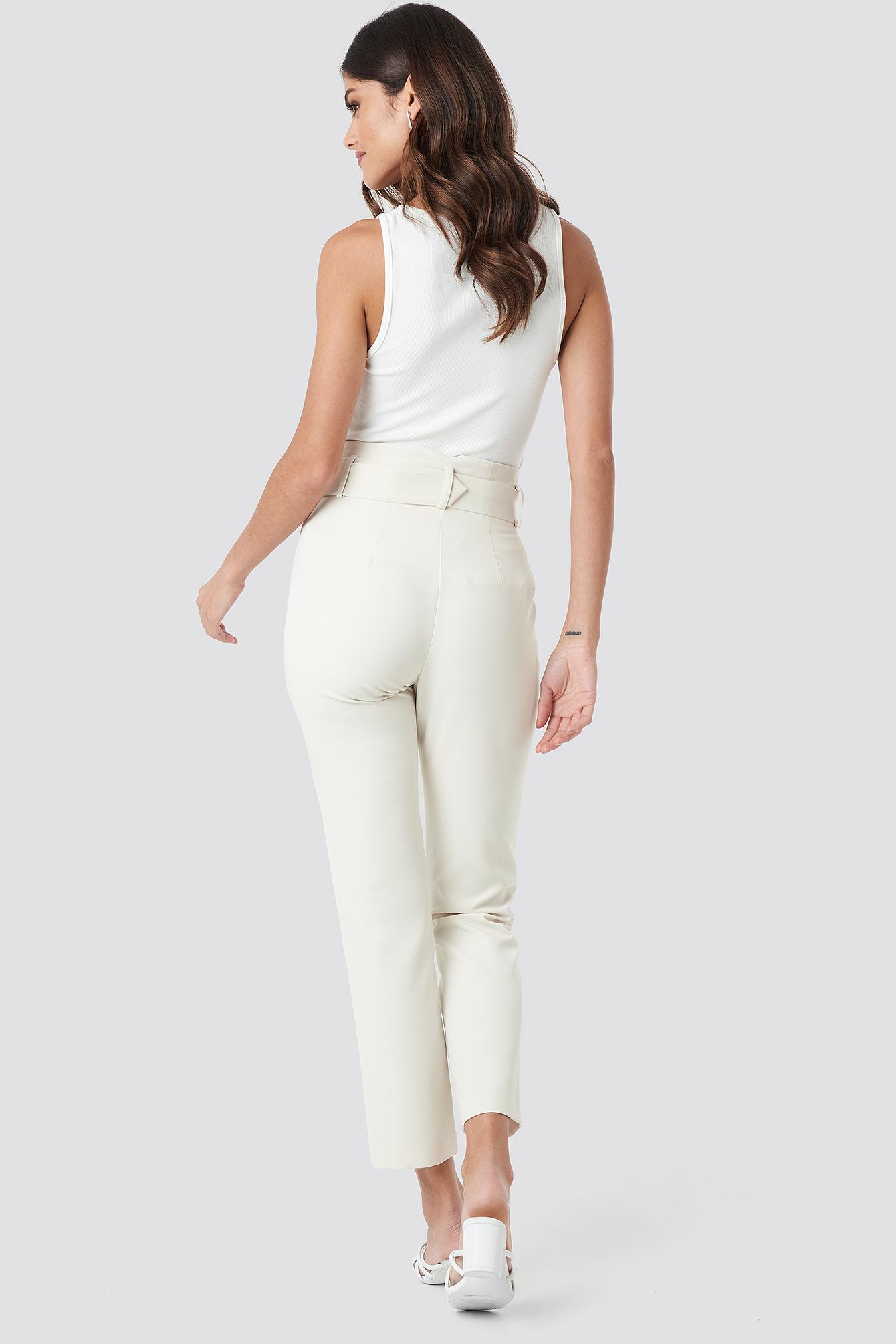 High Waist Asymmetric Belted Pants NA-KD.COM