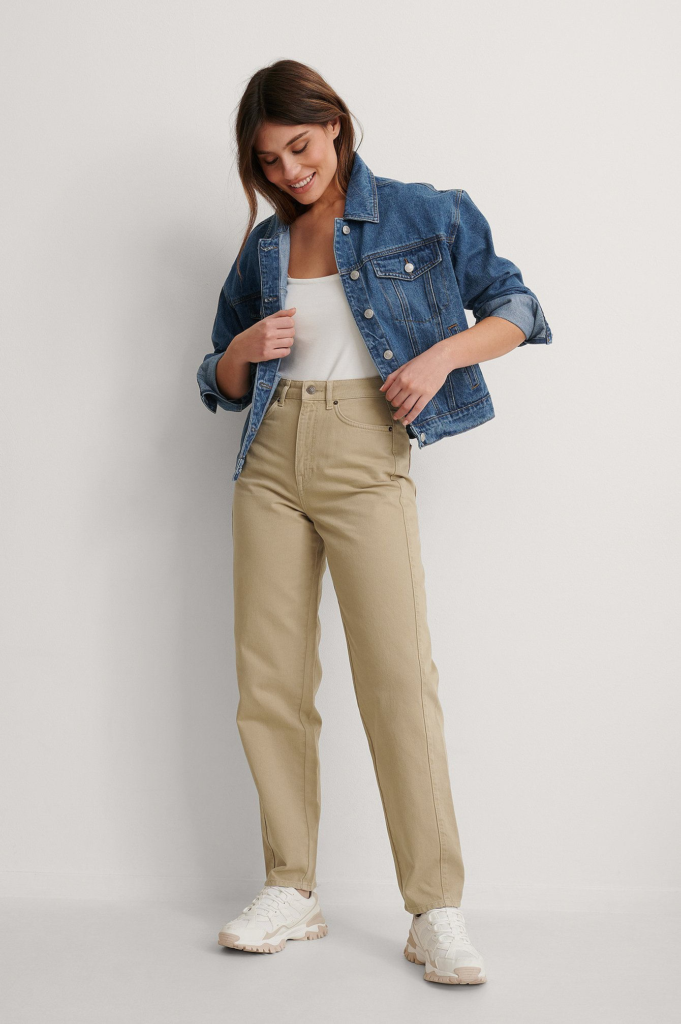 Olive High Waist Barrel Leg Jeans