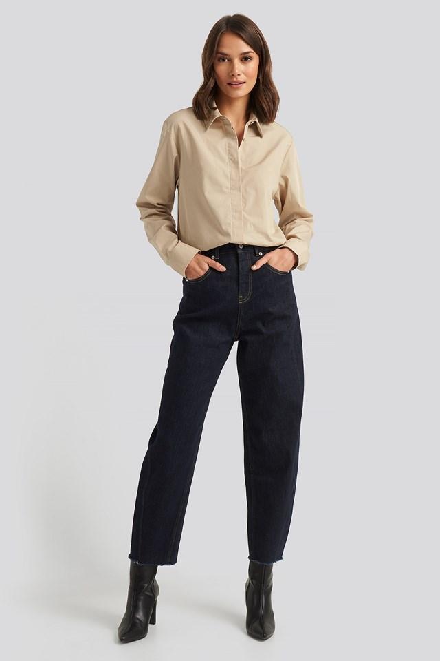 High Waist Barrel Leg Jeans Blue
