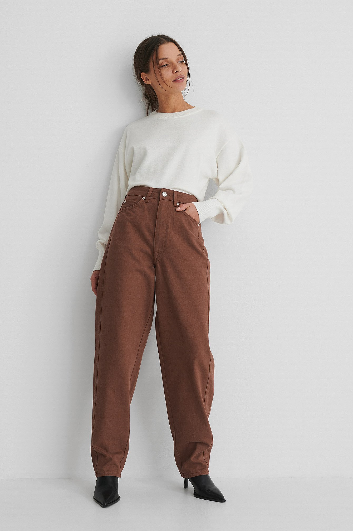 Rust High Waist Barrel Leg Jeans