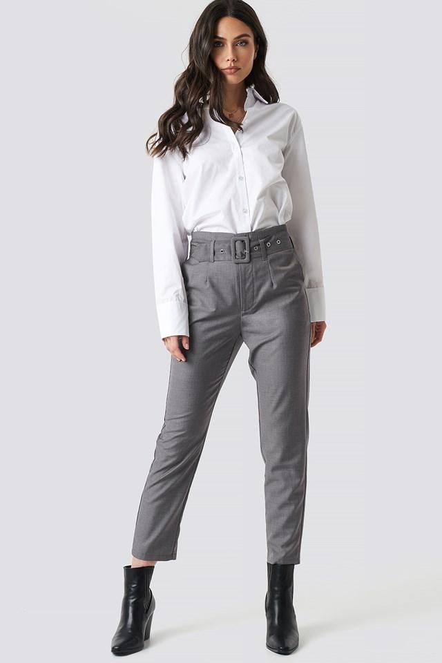 High Waist Belted Pants Grey