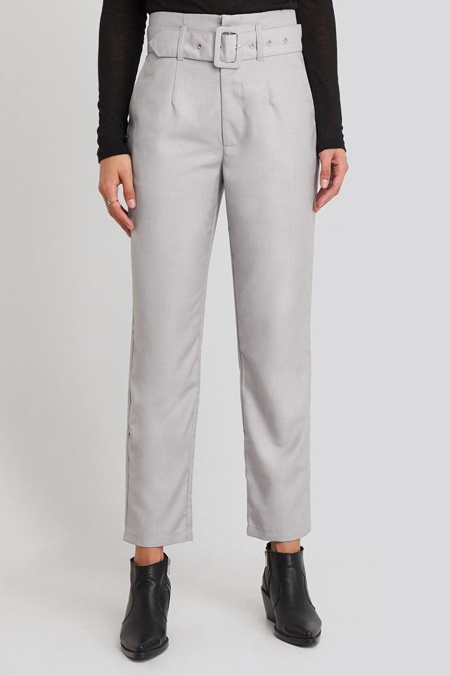 High Waist Belted Pants Light Grey