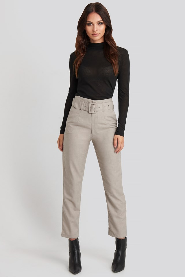 High Waist Belted Pants Dark Sand