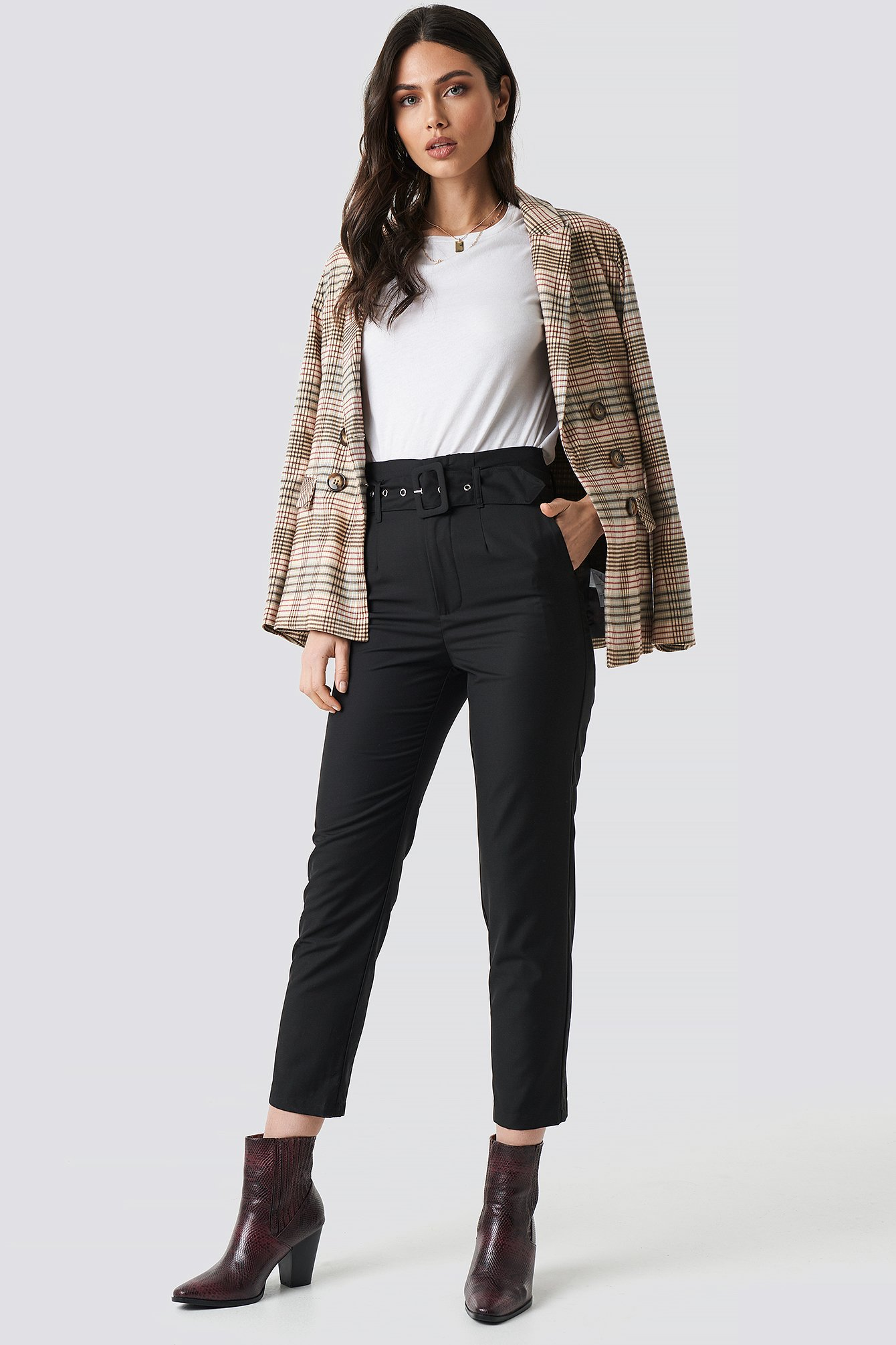 High Waist Belted Pants Sort by Nakdclassic