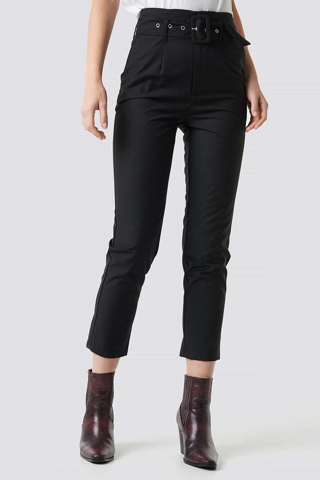 High Waist Belted Pants Black