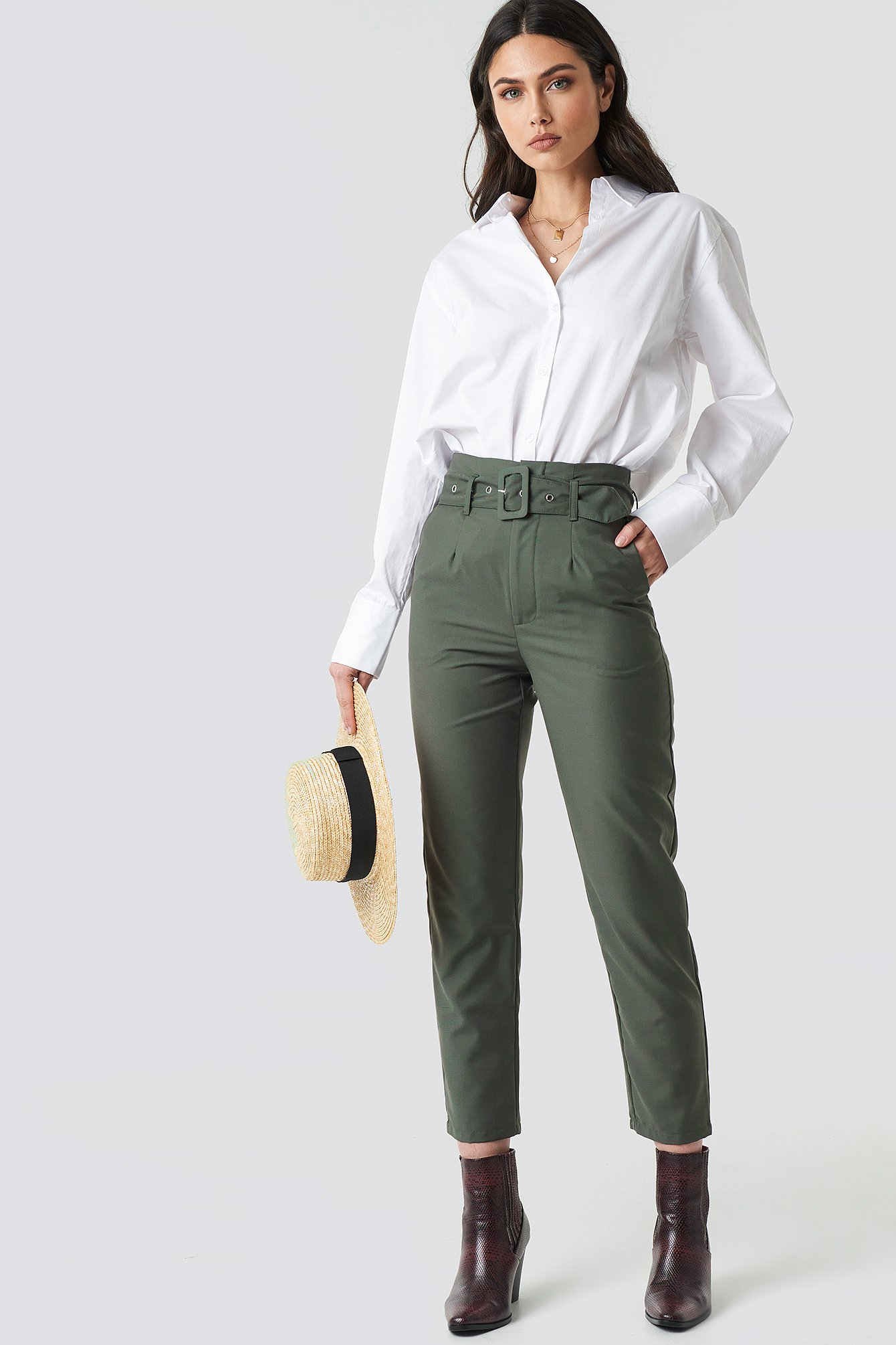 High Waist Belted Pants NA-KD.COM