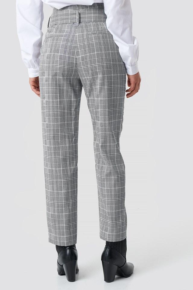 High Waist Belted Pants Checkered