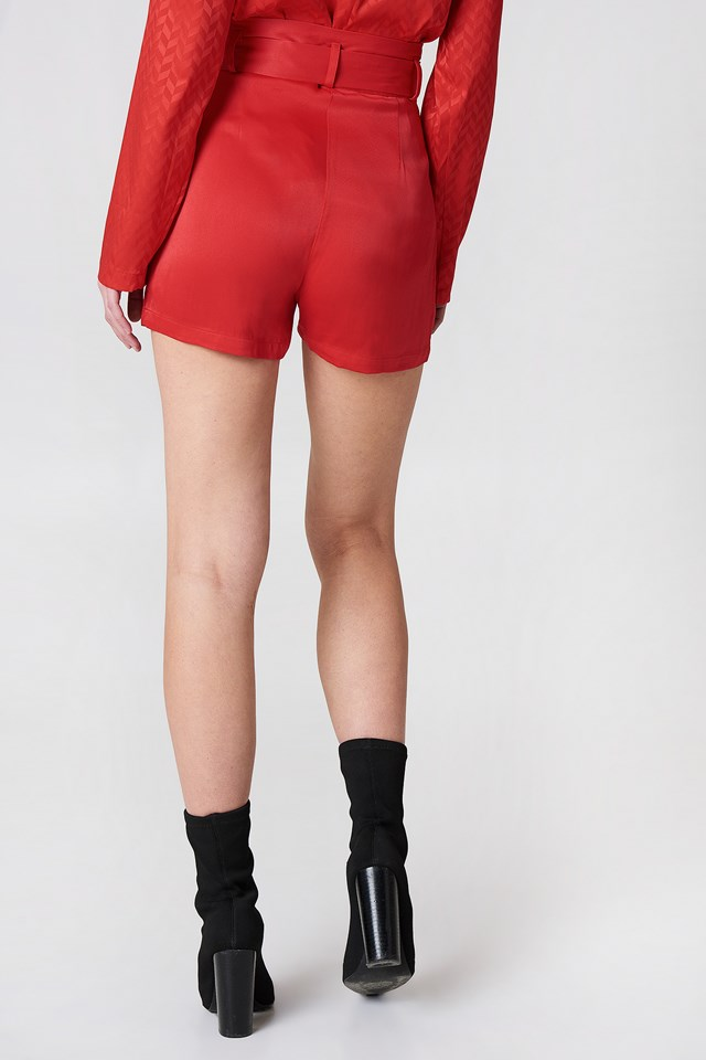 High Waist Belted Satin Shorts Red