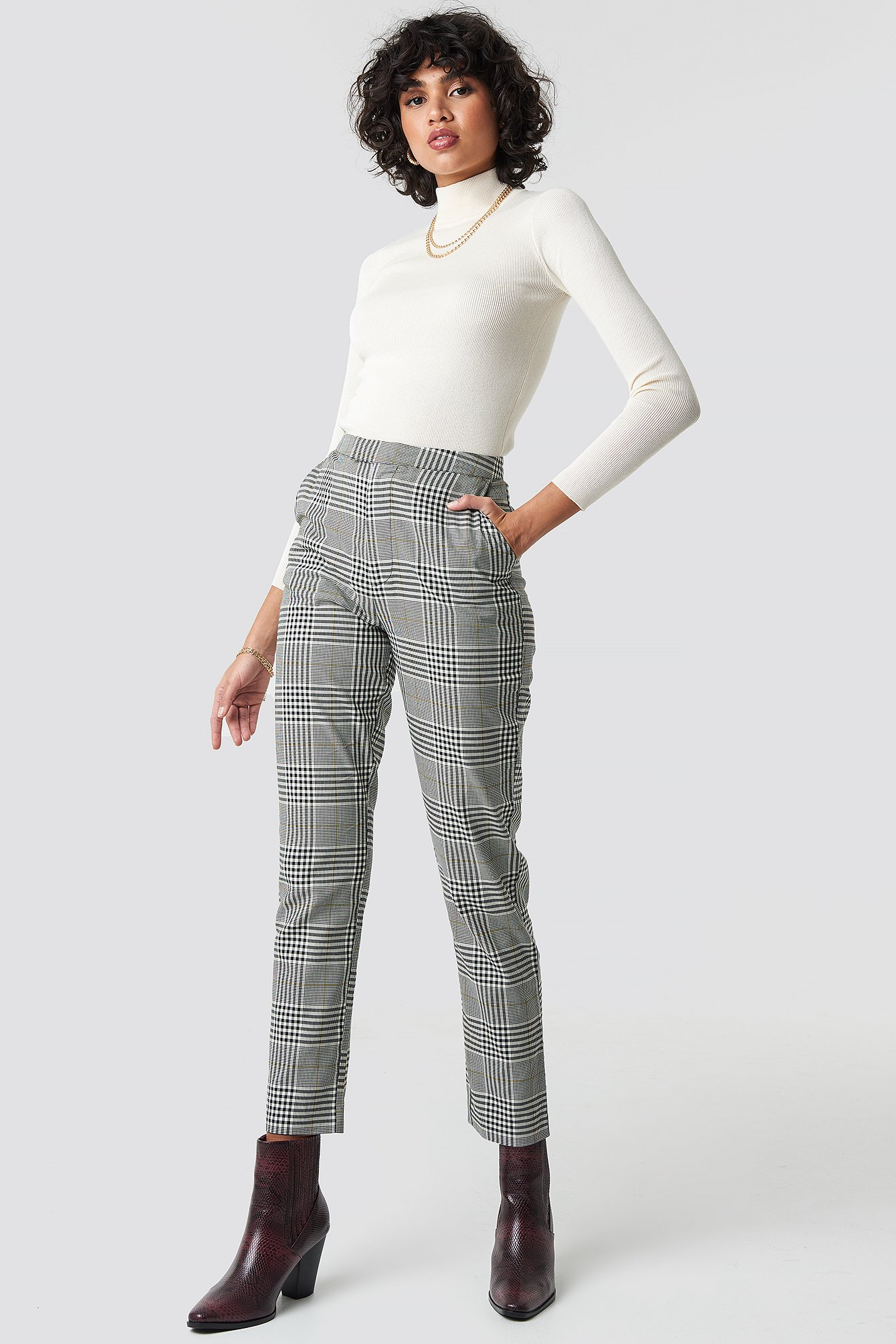 Checkered High Waist Checkered Suit Pant