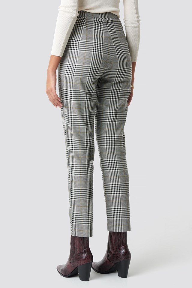 High Waist Checkered Suit Pant NA-KD.COM