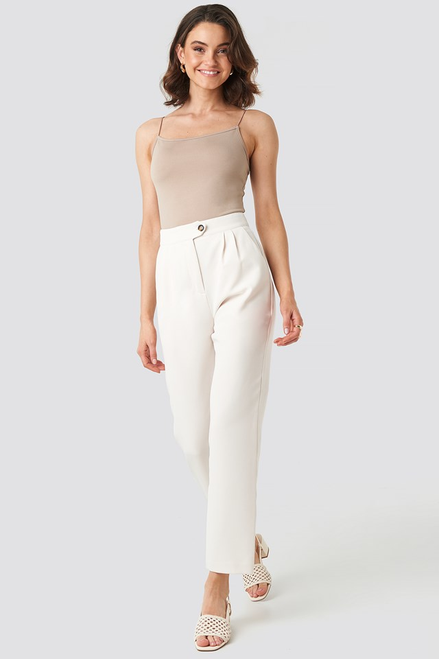 High Waist Cigarette Pants Offwhite