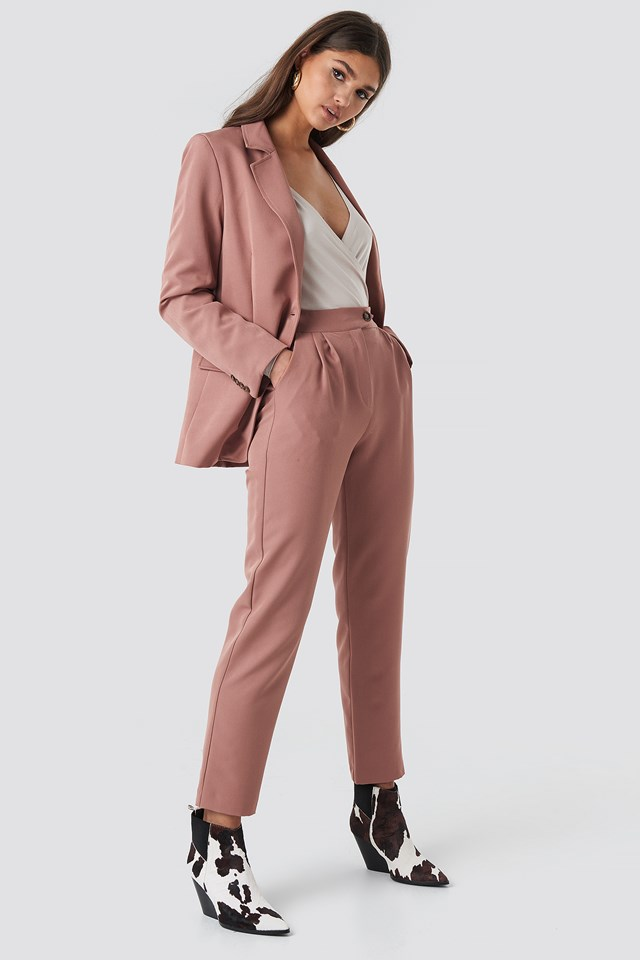 High Waist Cigarette Pants Dusty Dark Pink