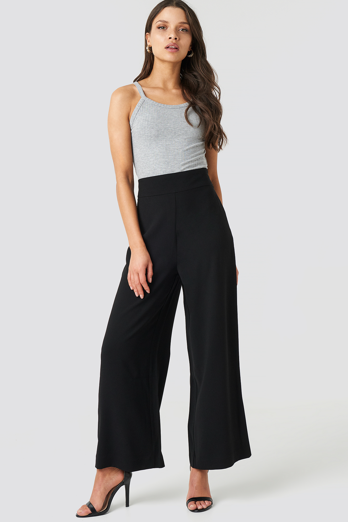 na-kd trend -  High Waist Wide Cropped Pants - Black