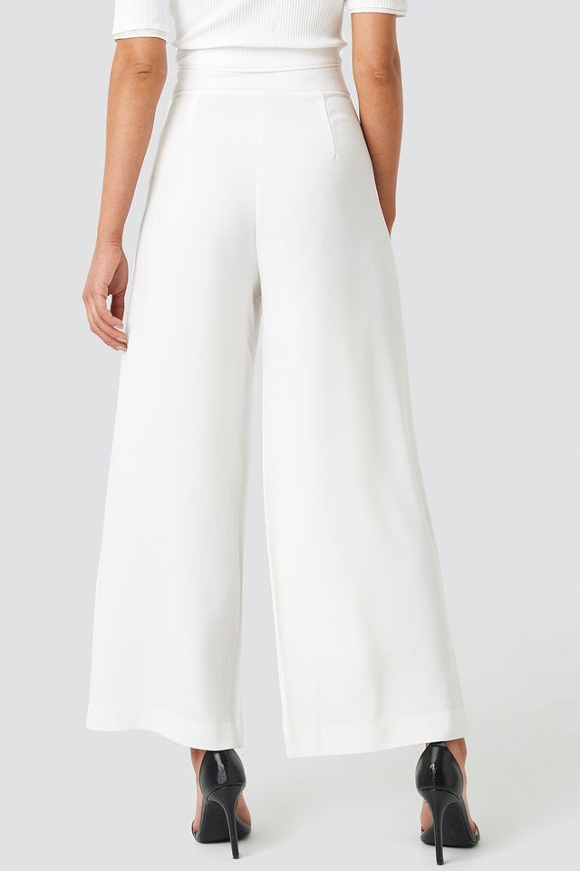 High Waist Wide Cropped Pants White
