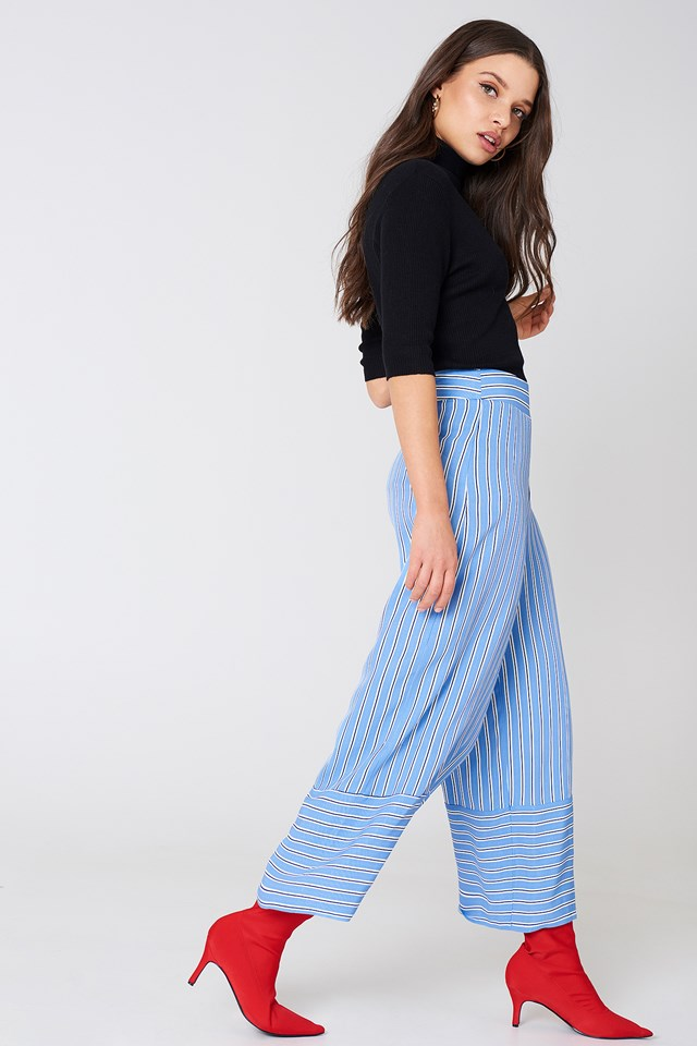 High Waist Culotte Pants Blue Stripe