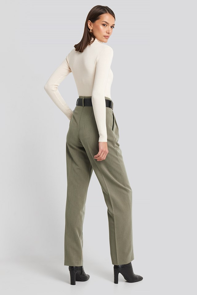 High Waist Darted Pants Dusty Green Melange