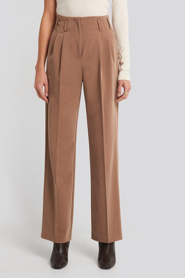 High Waist Darted Pants Dark Beige Melange