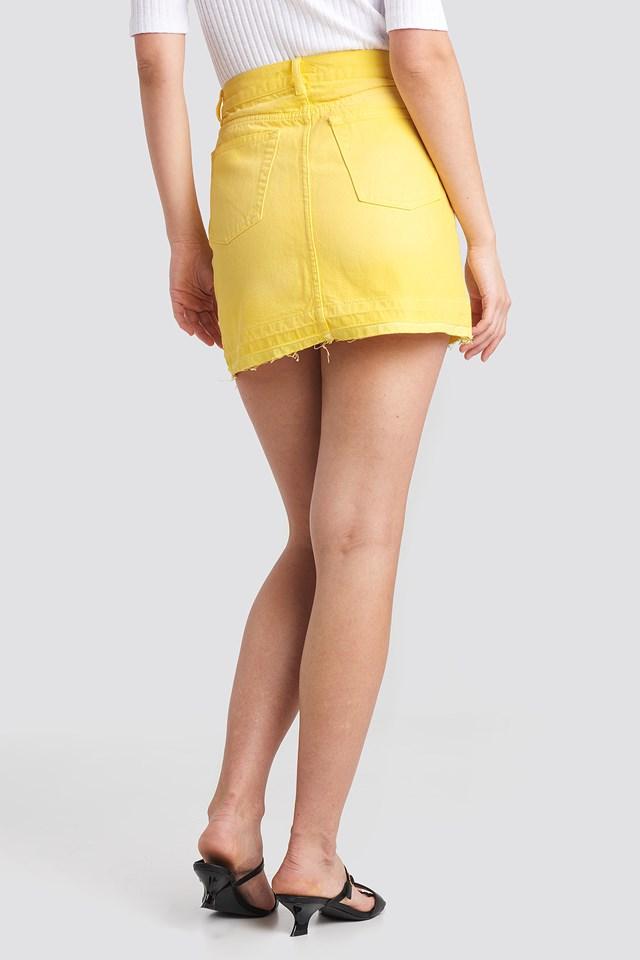 High Waist Denim Mini Skirt Yellow