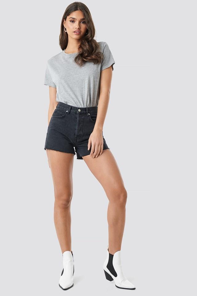 High Waist Denim Shorts Black