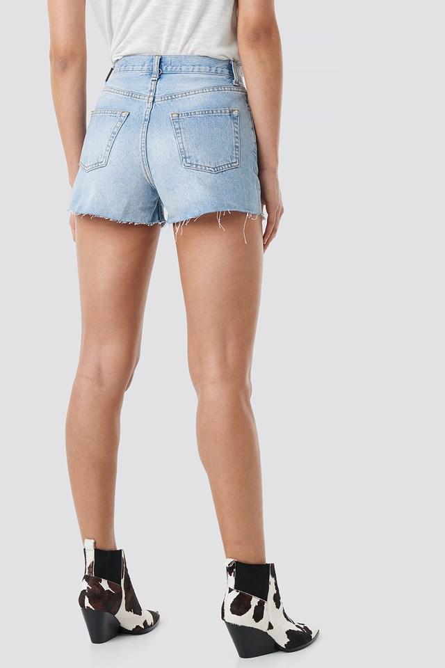 High Waist Denim Shorts Light Blue