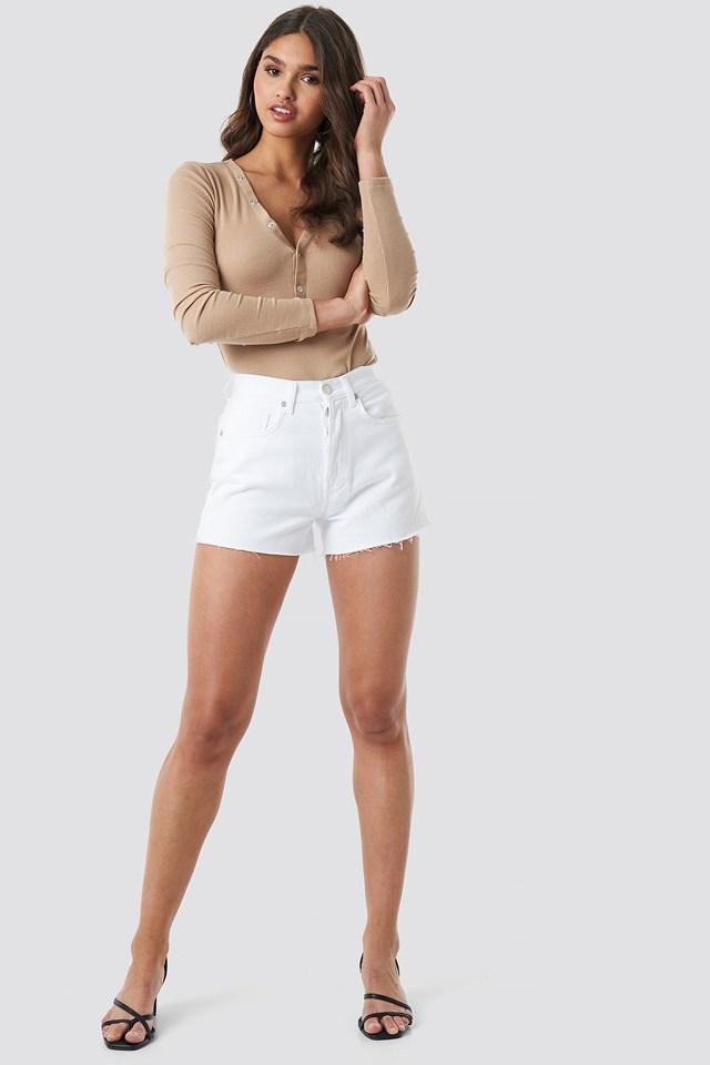 High Waist Denim Shorts White