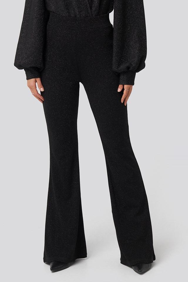 High Waist Flare Lurex Pants Black