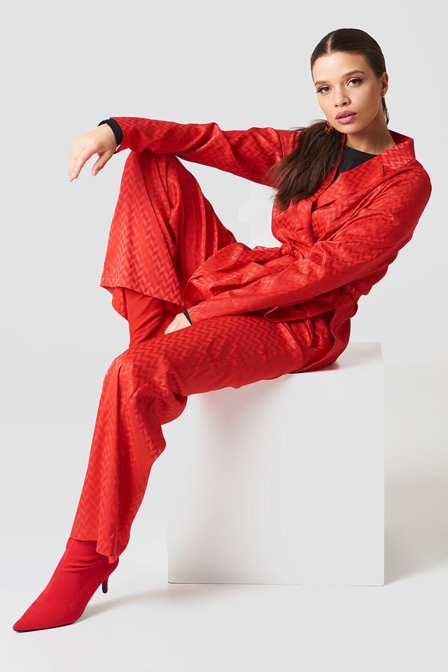 High Waist Flared Jacquard Pants Red