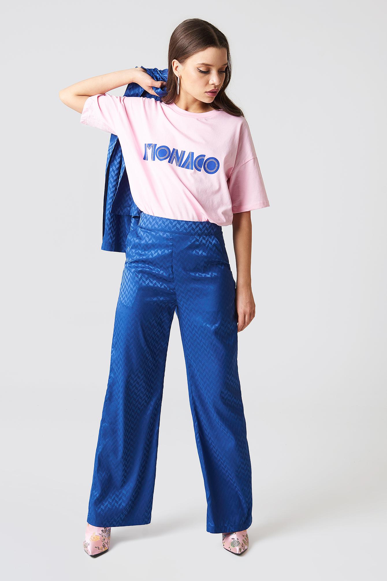 High Waist Flared Jacquard Pants NA-KD.COM