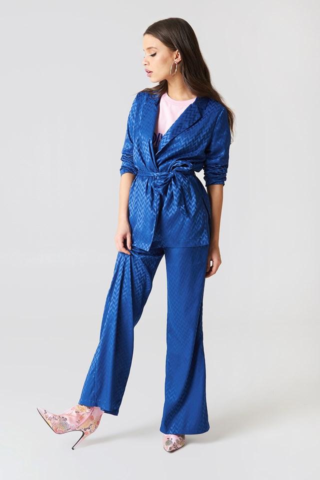 High Waist Flared Jacquard Pants Dark Blue